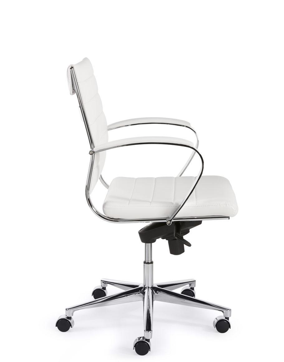 Bureaustoel 60 Cm Zithoogte.1200puw Design Bureaustoel 600 Lage Rug In Wit Pu Betaalbare